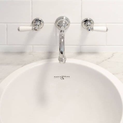3790 Perrin & Rowe Three Hole Wall Mounted Country Basin Tap Set Lever